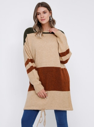 Khaki - Brown - Crew neck - Acrylic -  - Plus Size Jumper