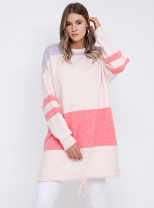 Lilac - Pink - Crew neck - Acrylic -  - Plus Size Jumper