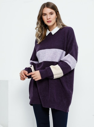 Purple - Crew neck - Acrylic - Plus Size Jumper
