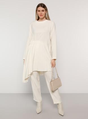 White - Ecru - Crew neck - Unlined - Viscose - Plus Size Suit