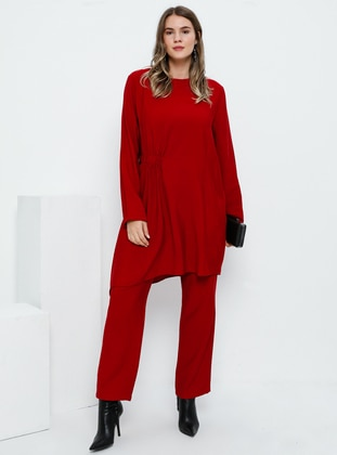 Red - Crew neck - Unlined - Viscose - Plus Size Suit