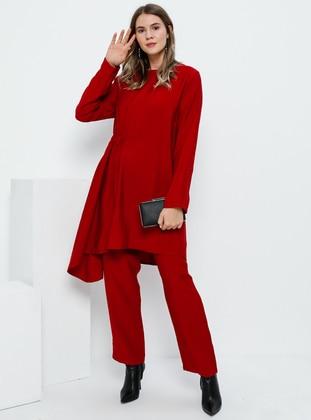 Red - Crew neck - Unlined - Viscose - Plus Size Suit