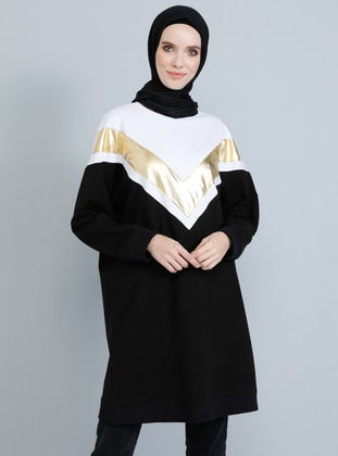 Gold - Black - Crew neck -  - Tunic