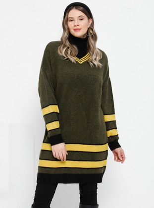 Khaki - V neck Collar - Acrylic - Plus Size Jumper