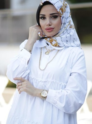 White - Printed - Scarf