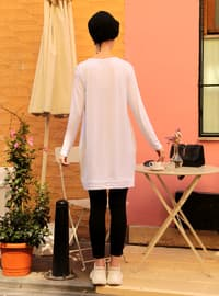Cream - Crew neck - Acrylic -  - Tunic