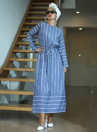 Indigo - Stripe - Crew neck - Unlined - Viscose - Dress