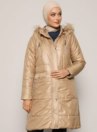 Beige - Fully Lined - Polo neck - Coat