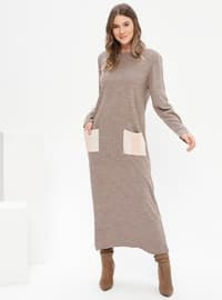 Mink - Unlined - Crew neck - Acrylic -  - Plus Size Dress