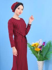 Maroon - Stripe - Crew neck -  - Dress