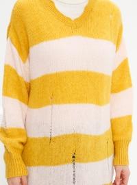 Mustard - Stripe - V neck Collar - Acrylic - - Plus Size Jumper