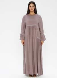 Mink - Crew neck - Unlined - Viscose - Dress