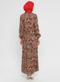 Brown - Multi - Crew neck - Unlined - Viscose - Dress