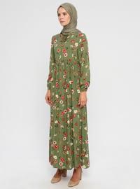 Green - Multi - Crew neck - Unlined - Viscose - Dress