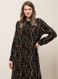 Siyah - Çok renkli - Astarsız kumaş - Fransız yaka - Viskon - Büyük Beden elbise