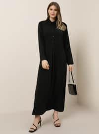 Siyah - Astarsız kumaş - Fransız yakalı - Büyük Beden Elbise