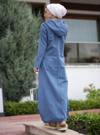 Blue - Unlined - Denim -  - Dress