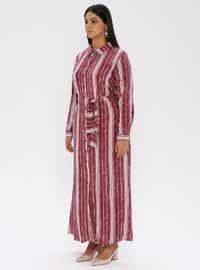 Maroon - Checkered - Crew neck -  - Plus Size Dress
