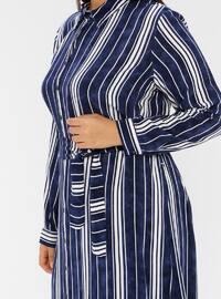 Navy Blue - Checkered - Crew neck -  - Plus Size Dress