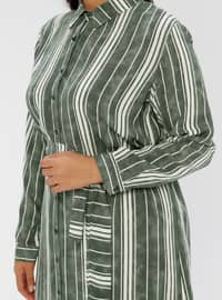 Green - Checkered - Crew neck -  - Plus Size Dress