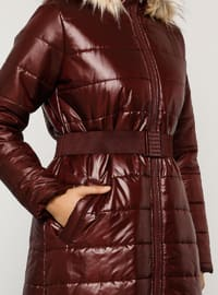 Maroon - Fully Lined - Polo neck - Coat