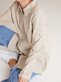 Beige - Stripe - Point Collar -  - Blouses