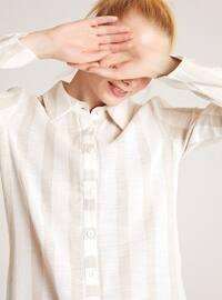 Beige - Ecru - Stripe - Point Collar -  - Blouses