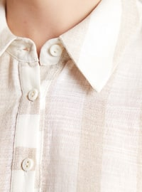 Beige - Ecru - Stripe - Point Collar -  - Blouses