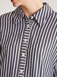 Indigo - Stripe - Point Collar -  - Blouses