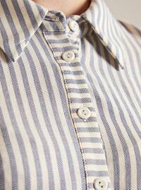 Blue - Stripe - Point Collar -  - Blouses