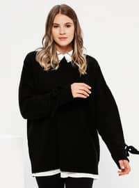 Black - Crew neck - Acrylic -  - Plus Size Jumper