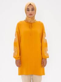 Mustard - Floral - Crew neck - Tunic