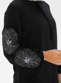 White - Black - Floral - Crew neck - Tunic