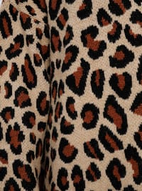 Brown - Leopard - Crew neck - Acrylic -  - Plus Size Jumper