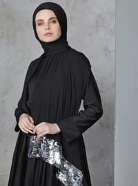 Silver tone - Black - Plain - Shawl