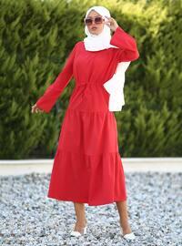 Dantelli Elbise - Kırmızı