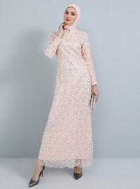 Powder - Fully Lined - Polo neck - Muslim Evening Dress