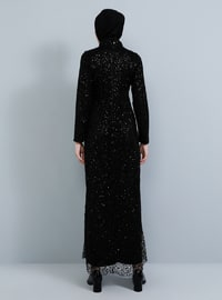 Black - Fully Lined - Polo neck - Muslim Evening Dress