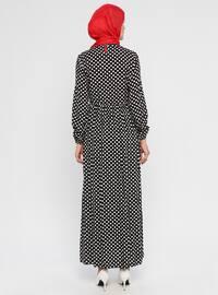 Black - Polka Dot - Crew neck - Unlined - Viscose - Dress