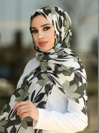 Khaki - Floral - Shawl