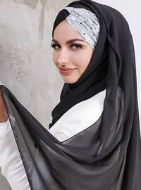 Silver tone - Black - Plain - Shawl