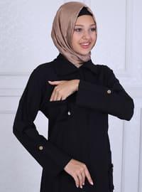 Black - Unlined - Point Collar -  - Abaya