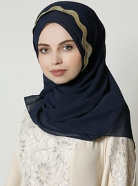 Gold - Navy Blue - Plain - Shawl