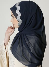 Silver tone - Navy Blue - Plain - Shawl