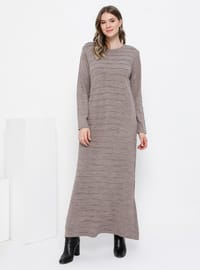 Vizon - Astarsız kumaş - Yuvarlak yakalı - Akrilik - Örme - Büyük Beden elbise