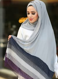 Gray - Striped - Shawl