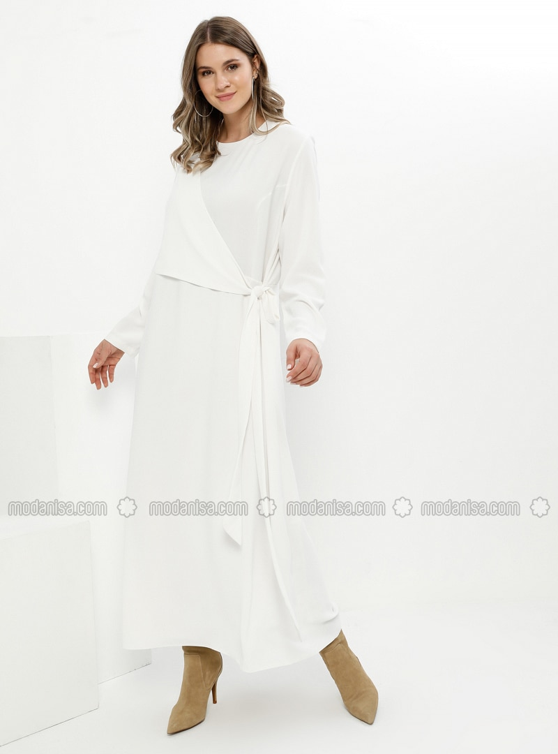 White - Ecru - Fully Lined - Crew neck - Plus Size Dress