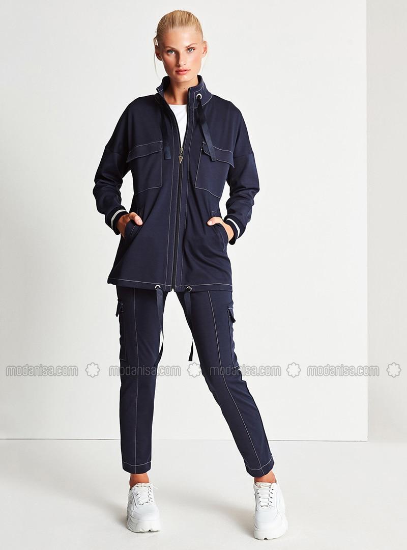 Navy Blue - Viscose - Pants