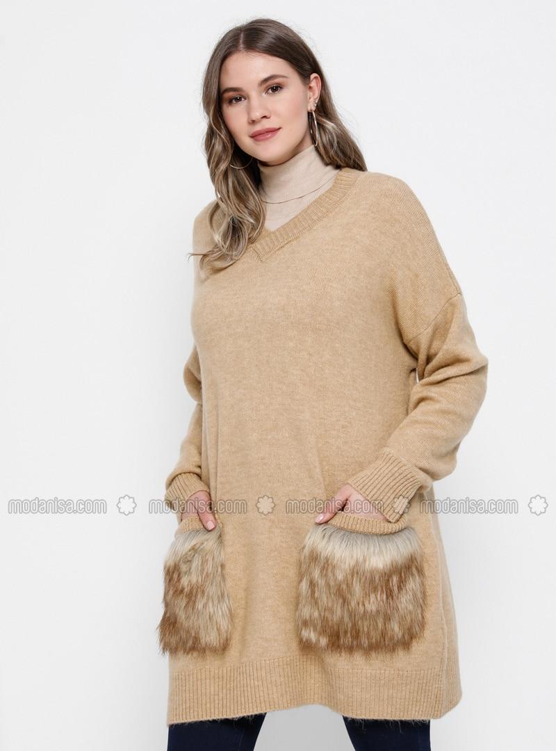 Camel - V neck Collar - Acrylic - Plus Size Jumper