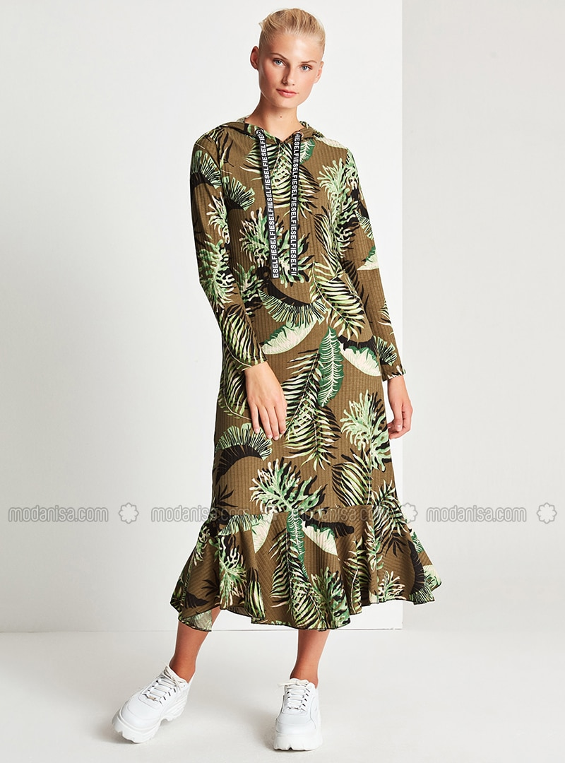 Green - Floral - Unlined -  - Dress
